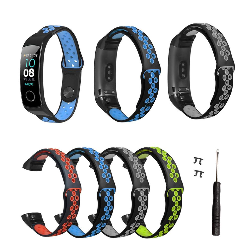 Two-Color Silicone Breathable Sport Wrist Strap Watch Band For Huawei Honor Band 5/4 Smart Watch Bracelet Accessories