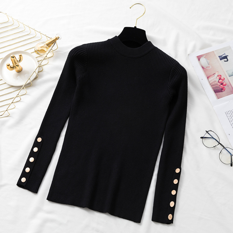 Autumn Women Long Sleeve Pure Slim Sweater Winter Knitted Turtleneck Casual Cashmere Pullover Metal Buttons Split Cuff Basic Top 16