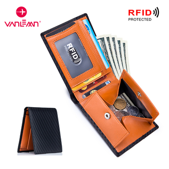 Men Wallet With Coin Pocket Genuine Leather ID Credit Card Holder RFID Anti-Theft Card Cash Wallets Mens CardHolder Luxury Brand 1