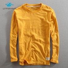 Camiseta de manga larga de algodón y bambú para hombre, ropa informal fina de estilo chino Vintage, de manga larga y cuello redondo