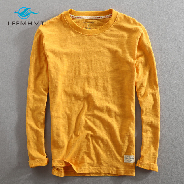 Männer Frühling Herbst Mode China Stil Vintage Einfarbig Bambus Baumwolle Langarm Oansatz T shirt Männlichen Casual Dünne T T shirts