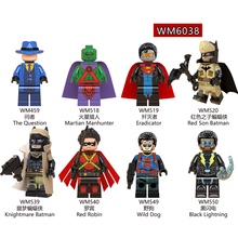 Single Sale Plastic Building Blocks DC Super Heroes Red Son Batman The Question Robin Wild Dog Children Gifts Toys DIY WM6038 pogo harley quinn figure single sale xinh 257 building blocks dc batman superhero models kids toys for children