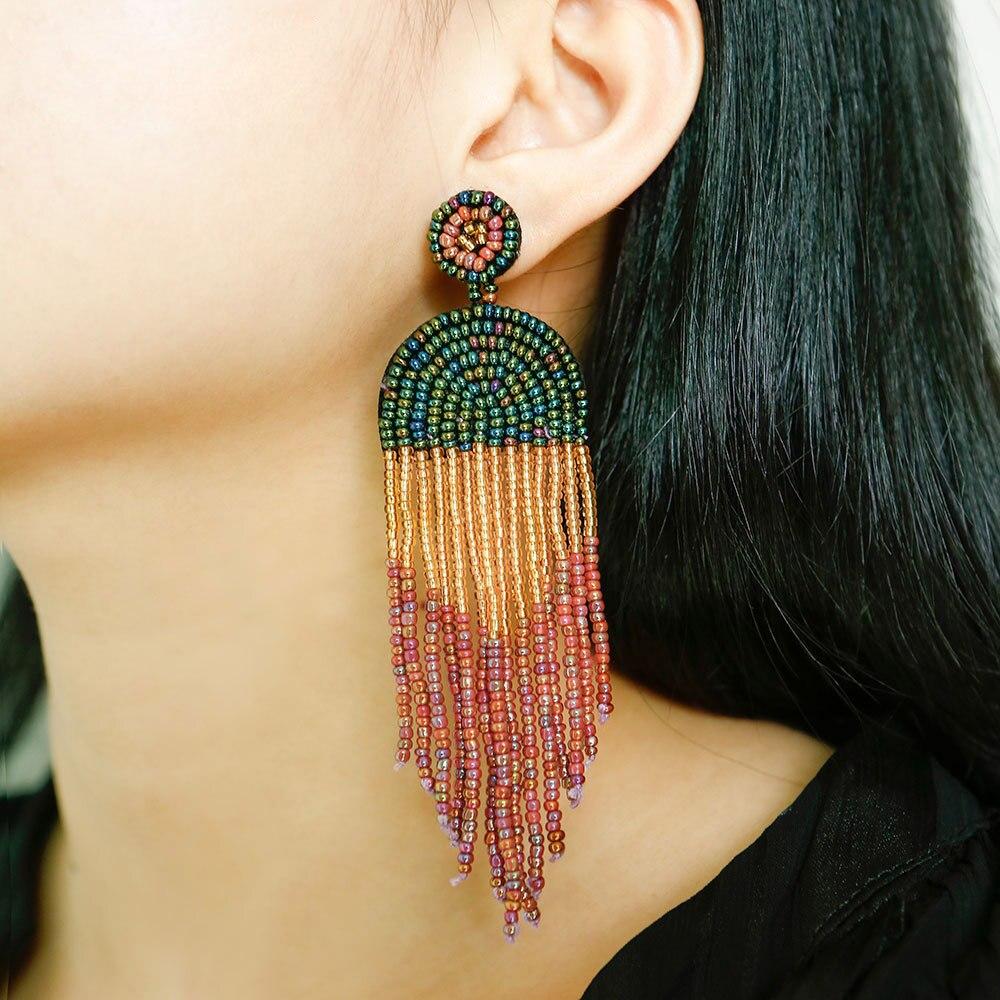 Handmade Seed Beads Tassel Pendant Dangle Drop Earrings for Women Amazon Hot Selling Manufacturer Suppliers Beads Tassel Drops