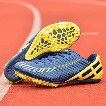 Profesjonalne buty lekkoatletyczne dla mężczyzn kobiety chłopcy dziewczęta lekkie sportowe kolce buty do biegania paznokcie trampki buty wyścigowe tanie i dobre opinie Stretch Spandex Na twardy kort Dla osób dorosłych oddychająca Masaż Buty utwór i pola Średnia (B M) RUBBER ELASTYCZNE