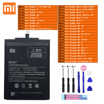 Xiaomi Original Redmi Hongmi Note Mi Max 2 A2 3 3S 4 4A 4C 4X Mix 5 5A 5X 5S 6 6X 7 8 9 Lite Plus Pro Pocophone F1 Phone Battery