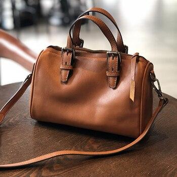 Ellacey Vintage Literary Handmade Women's Bag Cowhide Crossbody Boston Bag Ladies Messenger Bag Genuine Leather Shoulder Bag
