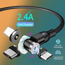 1m/0.5m 540 graus de rotação cabo magnético micro usb tipo c carregador de carregamento rápido ímã do telefone para samsung xiaomi lg kable