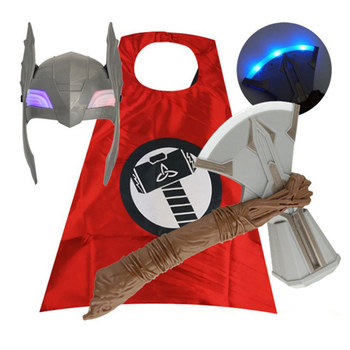 [Funny] LED light and sound Thor Stormbreaker Tomahawk Hammer thor helmet mask figure toy Cosplay Costume party image