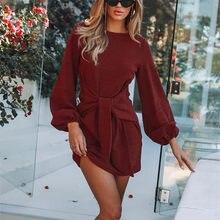 2020 jesienno-zimowa damska prosta sukienka Casual długi latarnia rękaw O-Neck Tie talia sweter sukienka moda damska solidna Mini sukienka