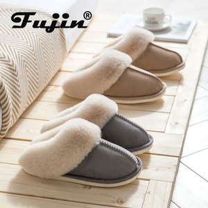 fujin New Autumn Winter Women Men Slippers Bottom Soft Home Shoe Cotton Slippers Indoor Slip On Slides Comfortable Shoe Slippers