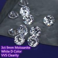 9mm 3ct Carat D Color Moissanite Round Brilliant Cut moissanites Loose Stone VVS Diamond Ring Jewelry Pendant Earrings Material