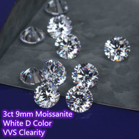 9mm 3ct Carat D Color Moissanite Round Brilliant Cut moissanites Loose Stone VVS Diamond Ring Jewelry Pendant Earrings Material
