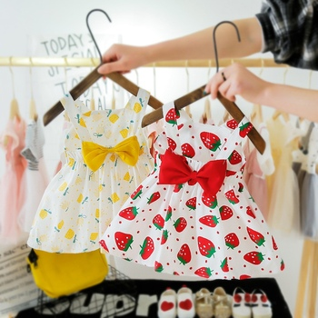 Baby Girl Dress 2020 New Summer Girls Dress With Hat 2 Piece Baby Clothes Set Print Dot Bow Princess Beach Dress For 6Mon-3Y zofz newborn baby clothing cotton baby girls short sleeve set three piece princess dress set with bow hair band and underpants