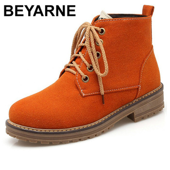 BEYARNEMartin lace boots for women Autumn Winter lady Squareheel boots women black orange army green Beige round toe ankle boot фото