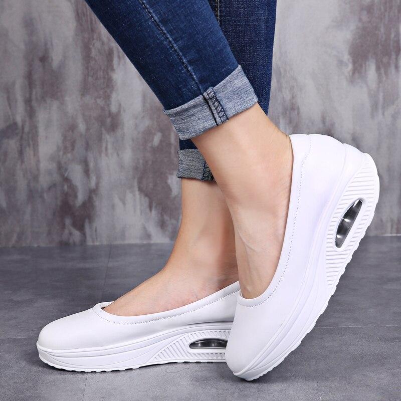 Women's Vulcanized Shoes Flat Platform Shoes Casual Comfort Shallow Shoes Fashion Shake Fabric Nursing Shoes for Women Sneakers 1