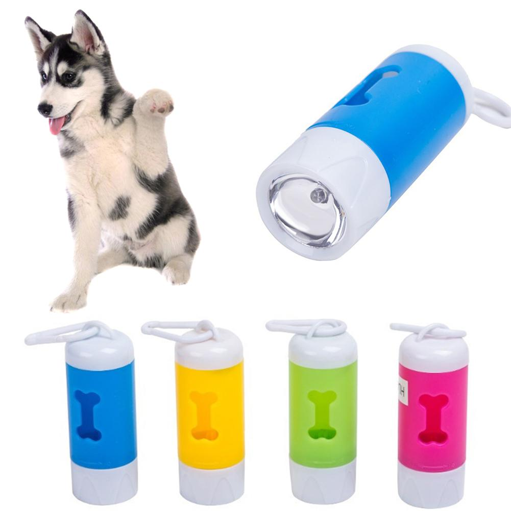 Pet Dog Bone Shape Poop Bag Dispenser Box Light Waste Pouch Carrier Holder Case