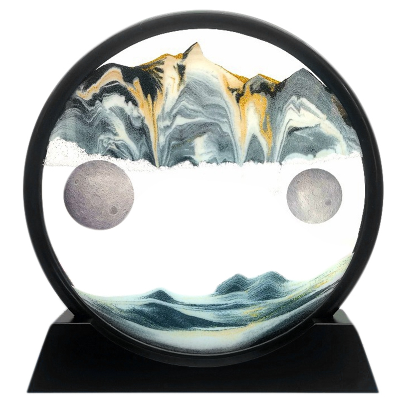 Moving Sand Art Picture Glass 3D Deep Sea Sandscape in Motion Display Flowing Sand Frame Relaxing Deskt