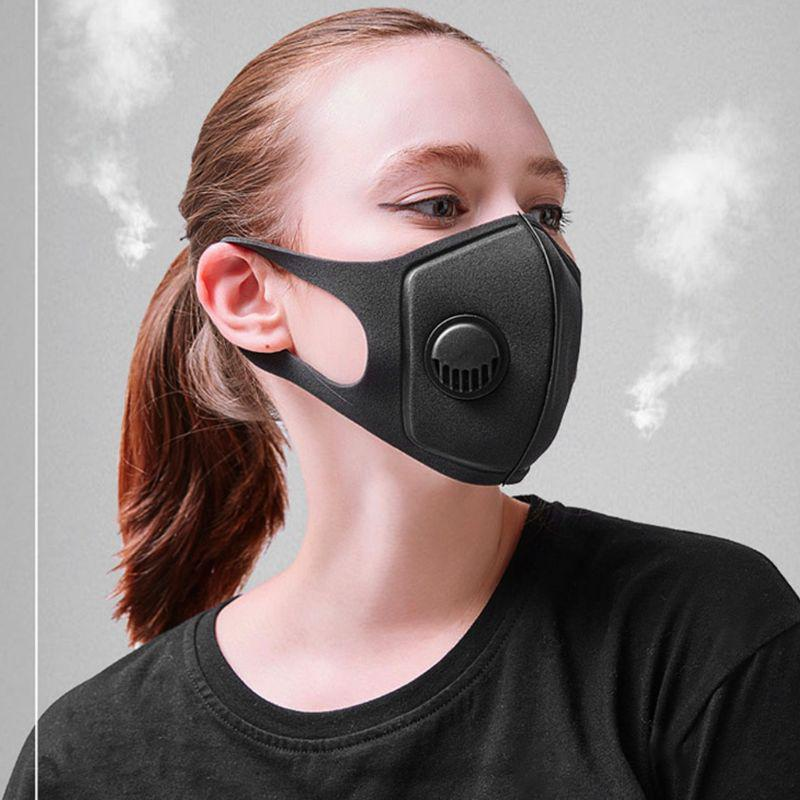 Unisex Sponge Dustproof PM2.5 Pollution Half Face Mouth Mask With Breath Valve Wide Straps