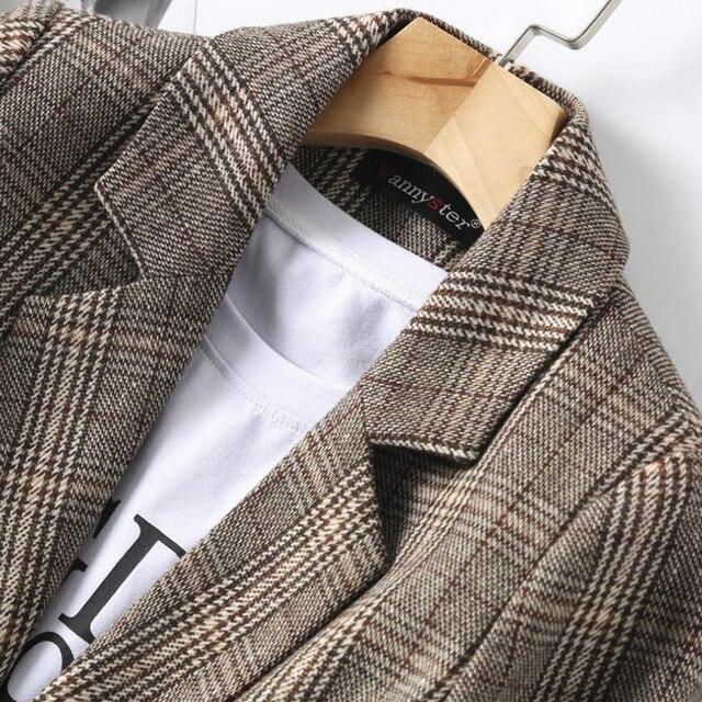 PEONFLY Vintage Single Breasted Office Ladies Plaid Blazer Long Sleeve Loose Plaid Coat Jacket Women Blazers Female 2021 3