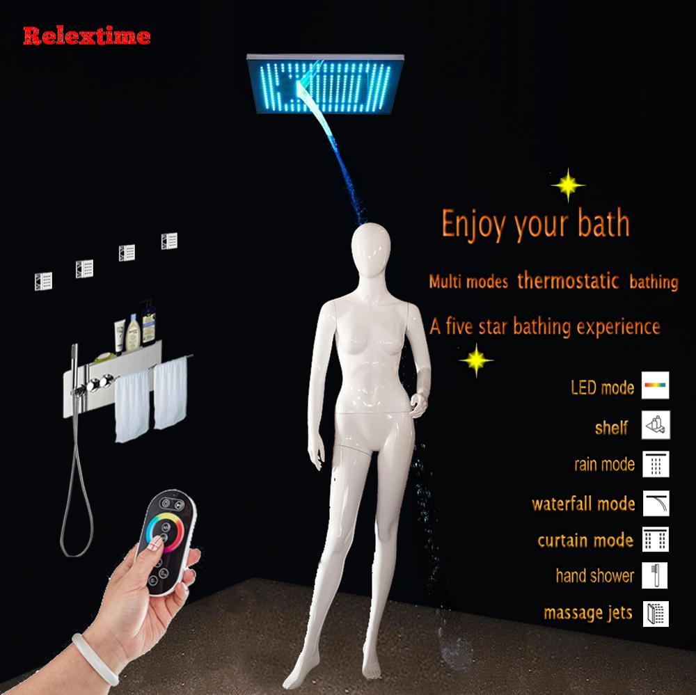 Nozzle Light LED Ceiling Shower Head Concealed Thermostatic Bathroom Shower Panel Multifunction Shower Faucets Set Massage jets