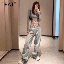 DEAT 2020 новые женские брюки с высокой талией, светло-голубые джинсовые брюки с полым вырезом для улицы цепочка на джинсы 7A02405L