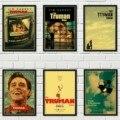 Семейная стена арт-деко, настенная наклейка, американская научно-фантастическая фильм, шоу Трумана, ретро-стиль, плакат из крафт-бумаги, укр...