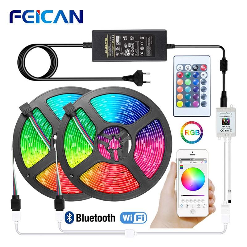 LED Strip Light Smart WiFi LED Lights 5050 2835 RGB Tape Bluetooth LED Strip 5M 10M 15M 12v Ambilight Works With Alexa, Google