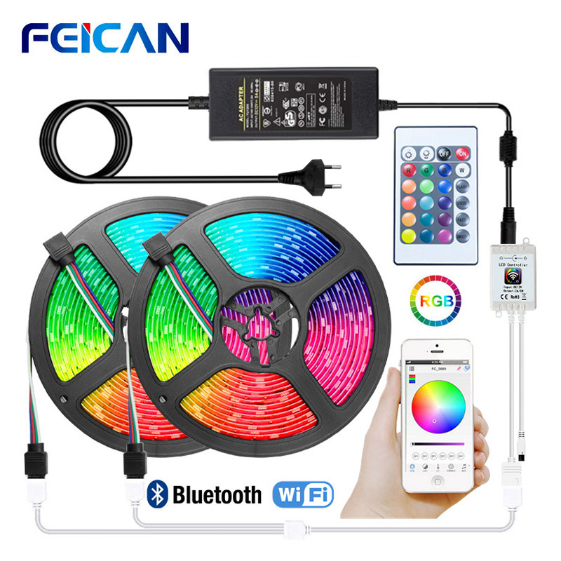 LED Strip Light Waterproof WiFi LED Strip 12v 5050 2835 RGB Tape Bluetooth Controller LED Light Strip 5M 10M 15M Ambilight