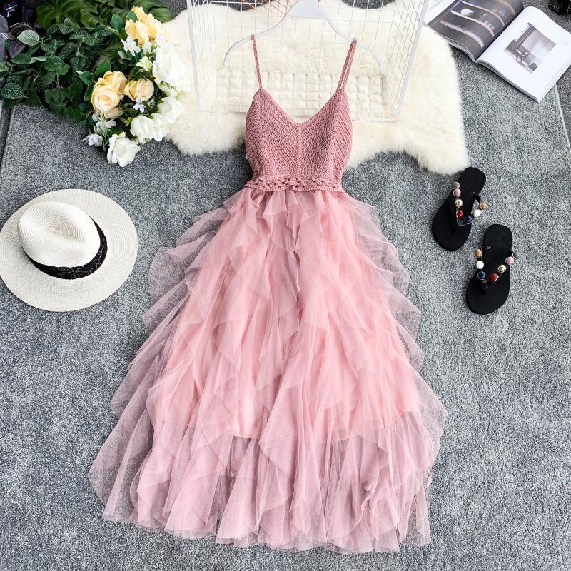 Женское фатиновое платье без рукавов, базовое длинное Сетчатое платье-туника розового и черного цвета в винтажном стиле, модель FY201 на лето, ...