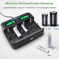 Chargeur de batterie à affichage LCD à 8 fentes pour Nimh Nicd AA AAA SC C D 9V chargeur intelligent rapide usb
