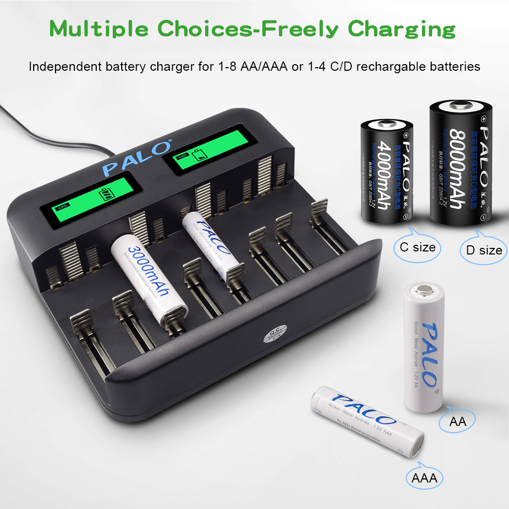 PALO Multi Usage 8 Slot LCD Display Battery Charger For Nimh Nicd AA AAA SC C D 9V Rechargeable battery usb quick smart charger