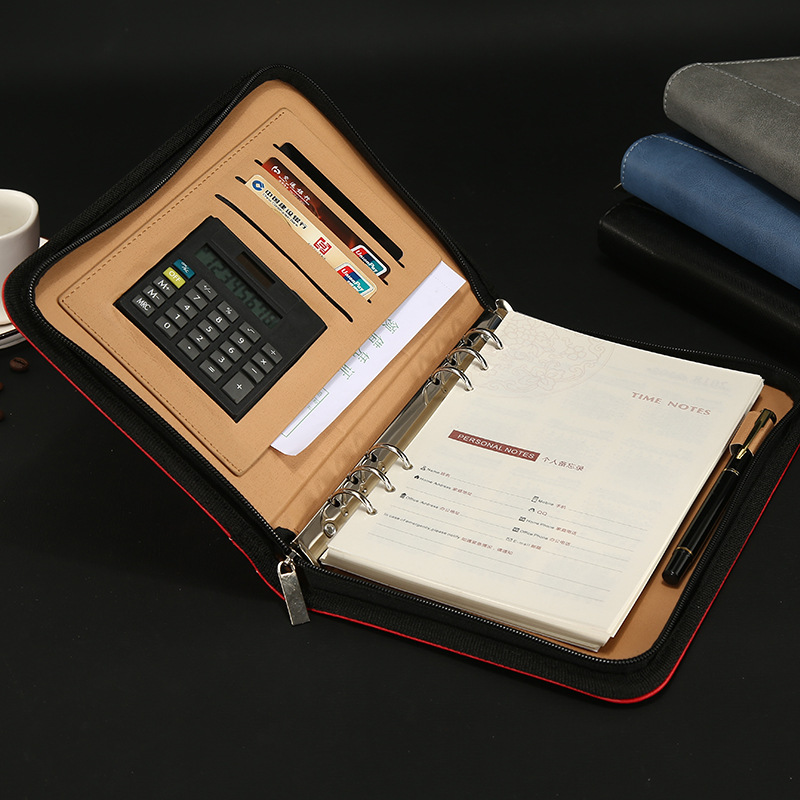 A6 A5 B5 Loose-leaf Spiral PU Leather Zipper Notebook 8-Bit Calculator Multi-Function File Bag Manager Folder Agenda Organizer