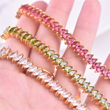 Shiny Crystal Color Bracelets For Women Jewelry Luxury Lady Gold CZ Accessories Bracelet Female Christmas Gift christmas trees red apple crystal cz 925 bracelet