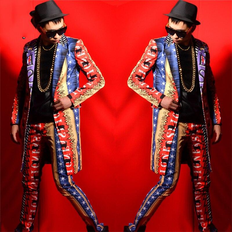 Men's Clothing Fashion Slim Fit Blazer DJ Suit Bar Male Punk Dancer Performance Outerwear Host Show Men Singer Costumes DT1126