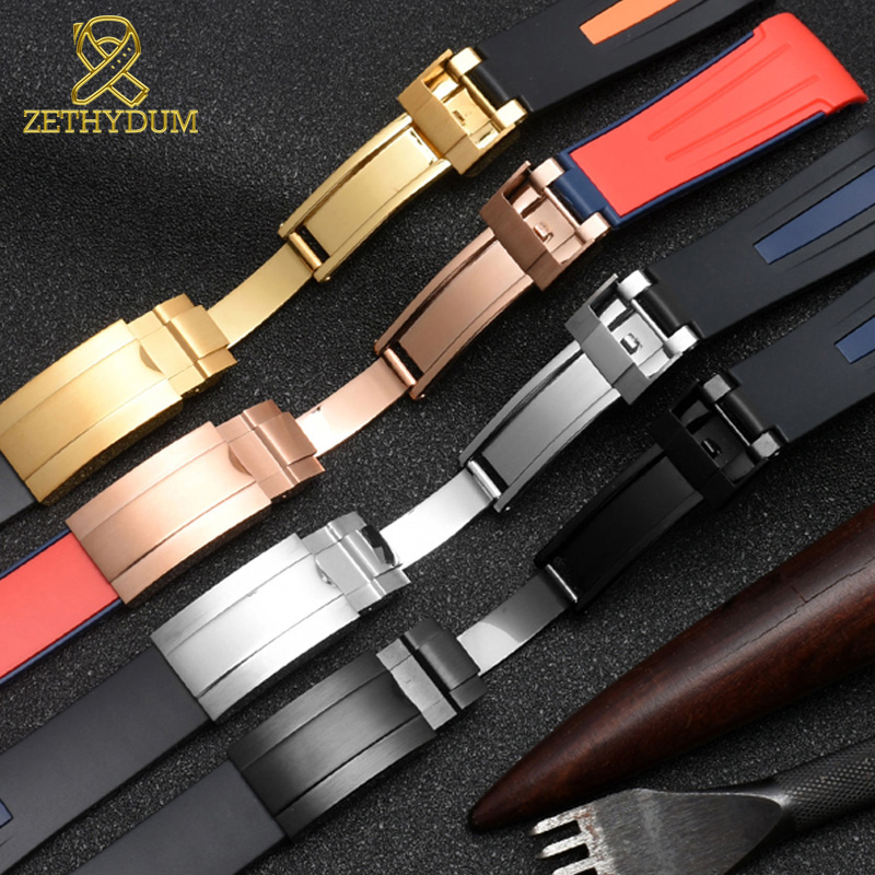 Image 4 - High quality Silicone Rubber bracelet 20mm 22mm watchband curve end sport watch strap fold buckle wristband belt black red color-in Watchbands from Watches