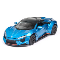 Ant 1:32 Diecast Model Car Fast And Furious Toys For Children Lycan super sports car alloy toy Toy Car Lights Music