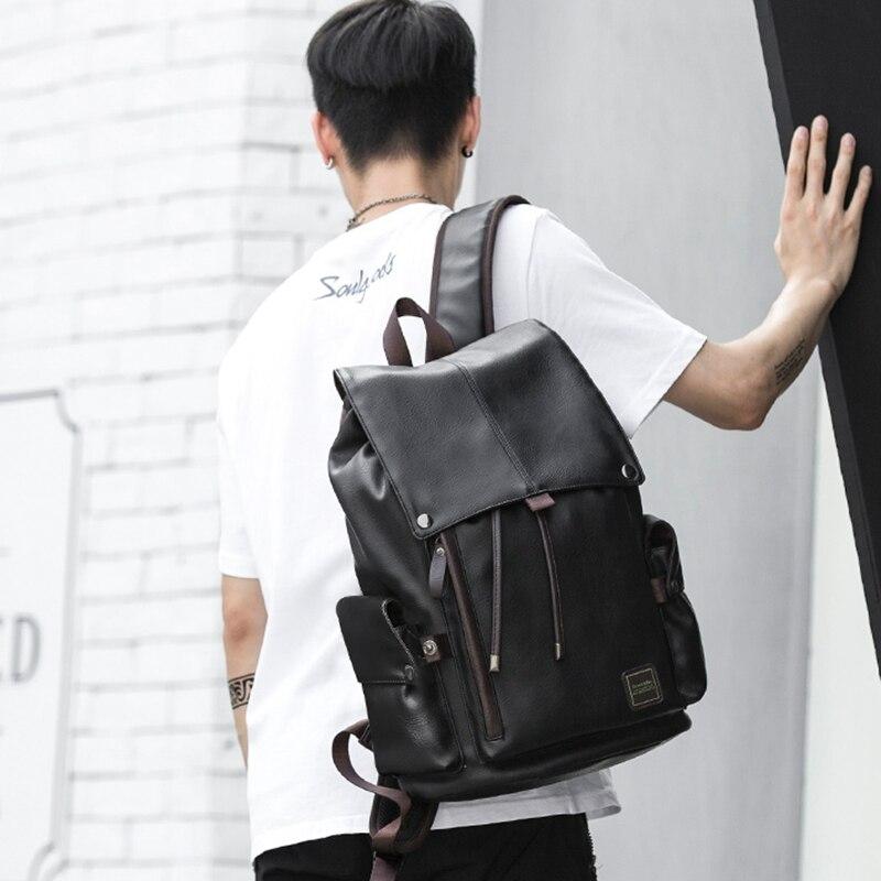 MOYYI célèbre marque sac à dos en cuir de Style scolaire sac pour collège conception Simple hommes imperméable à décontracté casual Daypacks mochila 2019 - 6