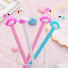Little fresh and lovely cartoon Flamingo gel pen students with black little swan shape signature