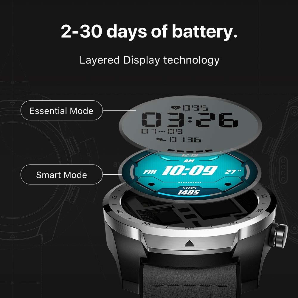 TicWatch Pro argent montre intelligente affichage en couches montre Bluetooth avec GPS paiement NFC IP68 Google Play Original - 2