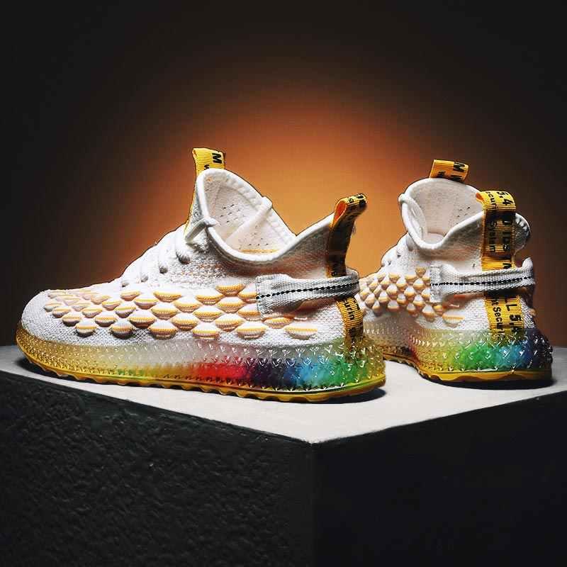 Nefes örgü spor ayakkabılar erkek Sneakers Run erkek spor ayakkabı erkekler için spor ayakkabı adam koşucular renkli Sole beyaz sarı E-372