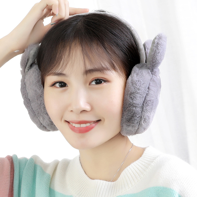 Newly Winter Plush Ear Muffs Foldable Cartoon Women Warm Earmuffs Ear Warmer FDM