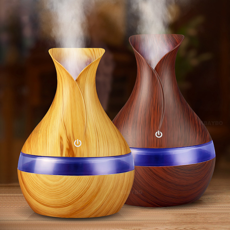 300ml Aroma Essential Oil Diffuser Ultrasonic Air Humidifier With Wood Grain 7 Color Changing LED Lights For Office Home