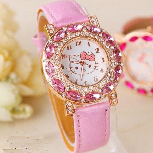 Kt gato crianças relógio de pulso de quartzo moda casual menina relógio crianças bonito pulseira de silicone atches linda 1
