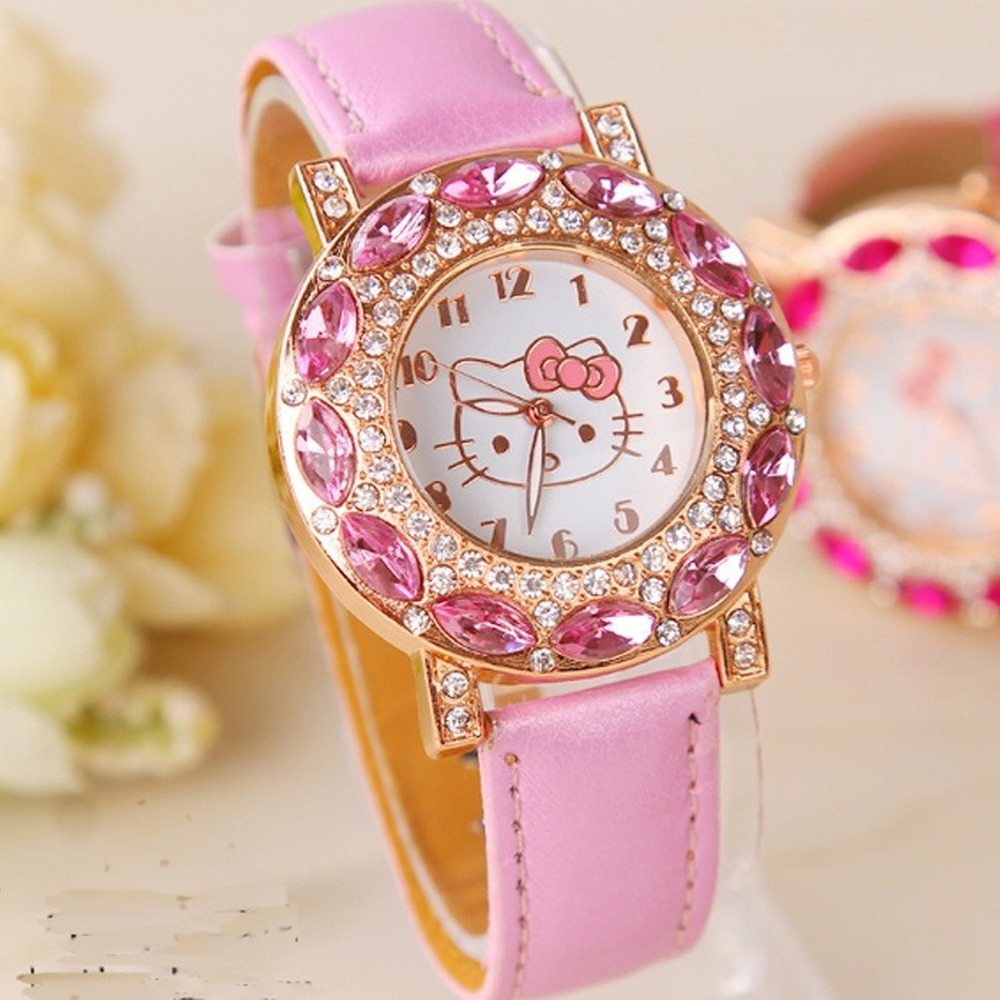 Kt Cat Children Quartz Wristwatch Clock Fashion Casual Girl Watch Kids Cute Silicone Strap Atches Lovely