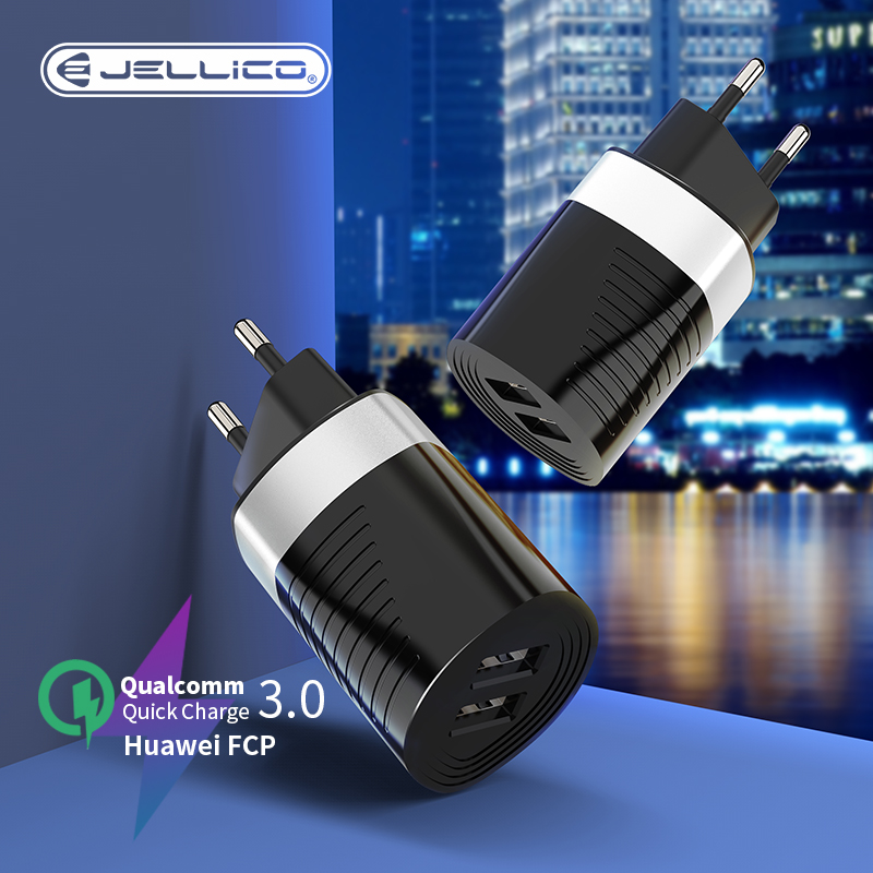 Jellico EU Plug Wall Mobile Phone Charger USB QC3.0 Fast Charging 5V 2.4A Adapter For iPhone 11 Samsung Xiaomi AC Power Charger(China)