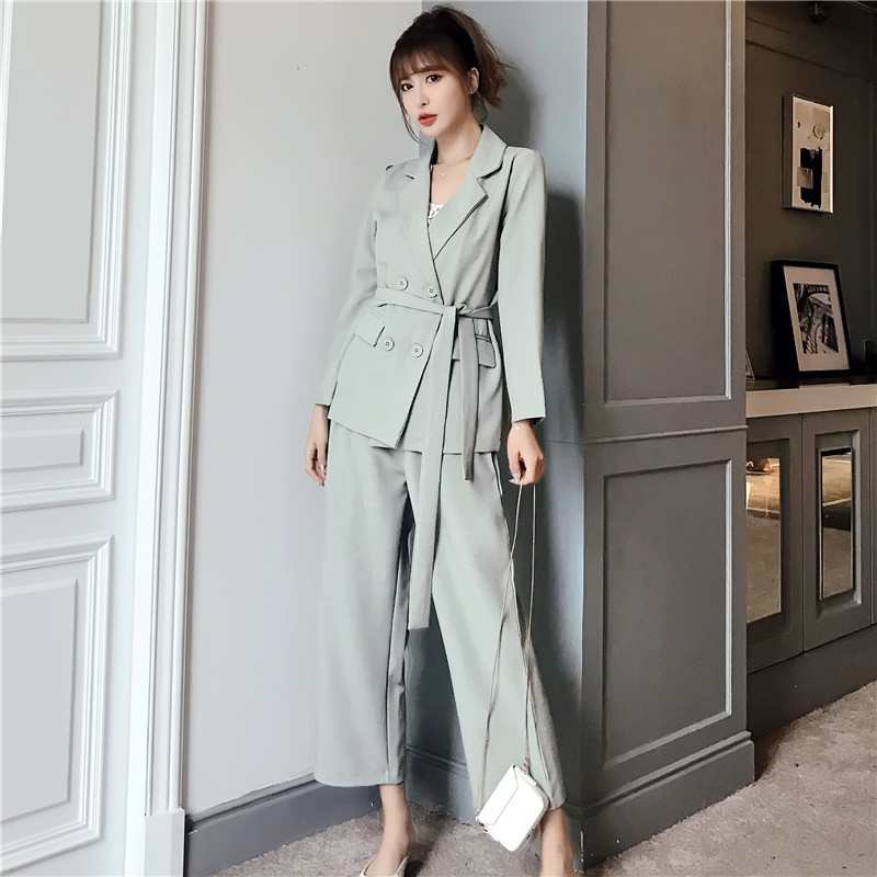 Autumn Winter  Women Lace Up Pant Suit Notched Blazer Jacket & Pant Office Wear Suits Female Sets
