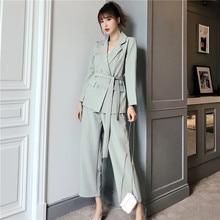 Autumn Winter  Women Lace Up Pant Suit Notched Blazer Jacket & Pan