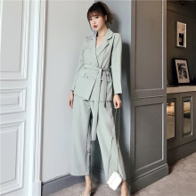 Autumn Winter Women Lace Up Pant Suit Notched Blazer Jacket & Pant Office Wear