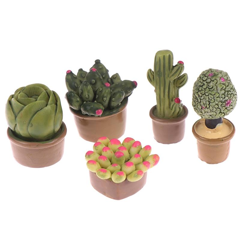 2Pc 1:12 Succulent Plant Micro Landscape Decoration Miniature Green Plants Decoration Dollhouse Furniture Decoration Accessories