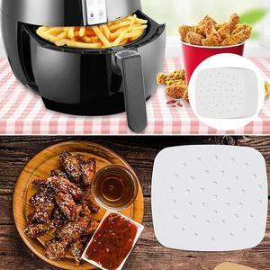 Fritadeira a ar quadrada de hambúrguer, papel de hambúrguer, pizza, churrasco, biscoito, produtor de patty, 100 peças ferramentas de cozinha para forno